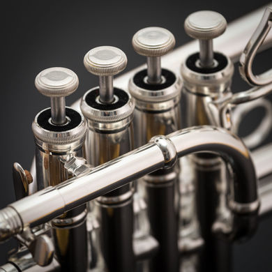 JP254 Piccolo trumpet in Silverplate Macro Shot