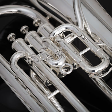 JP074 Euphonium in Silverplate Macro Shot