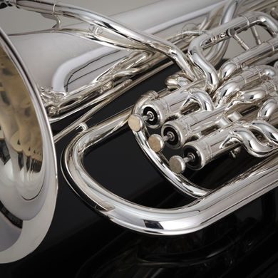 JP374SW Trigger Euphonium in Silverplate Macro Shot