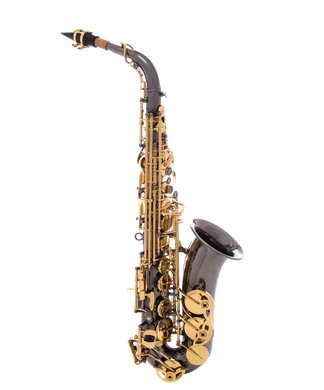 JP045B Alto Sax Black Gold keys CUTOUT reduced