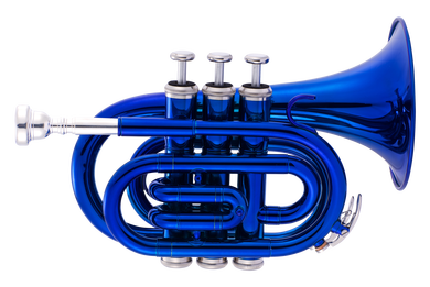 JP159 Bb pocket trumpet blue Lacquer CUTOUT