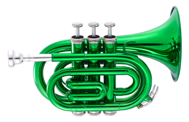 JP159 Bb pocket trumpet Green Lacquer CUTOUT